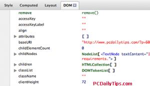 DOM tab for javascript