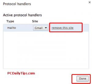 Protocol handlers showing gmail as the active protocol handlers