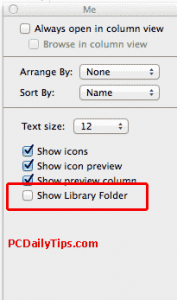 Show Library folder in Mavericks