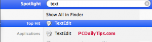 TextEdit in Spotlight