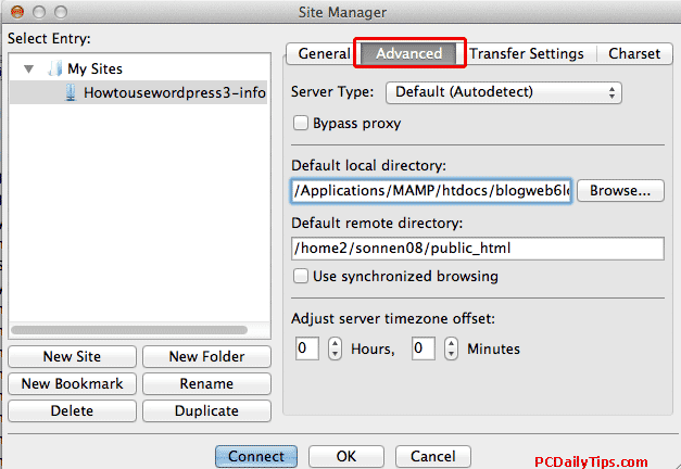 Advanced settings FileZilla