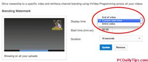 Display time option of watermark