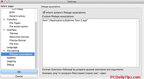 Filezilla filetype association setting