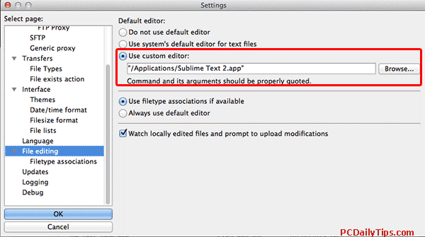 Filezilla text editor setting