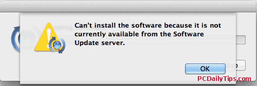 """Can't install the software because it is not currently not available from the software Update server"" error message"