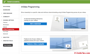 InVideo Programming options, there are two of them