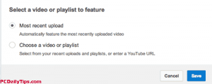 select video or playlist