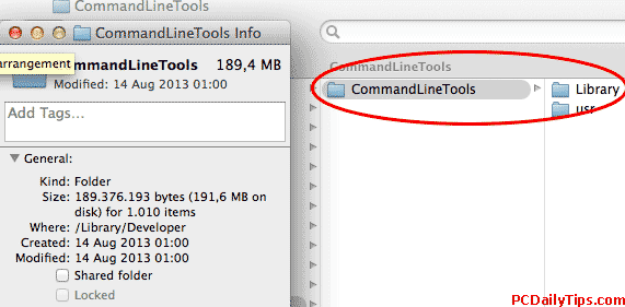 Where Command Line Tools folder on Mavericks Mac
