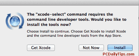 """x-code-select"" command requires the command line developers tools. Would you like to install the tools now?"
