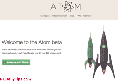 Authorize Atom text editor with github