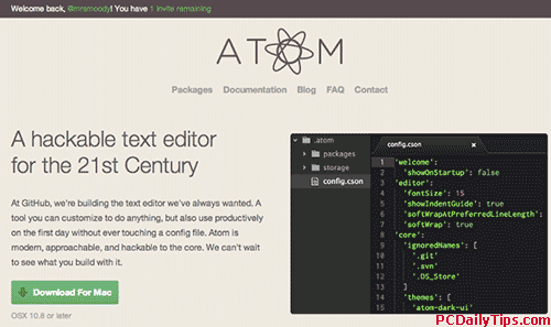 Download Atom text editor button