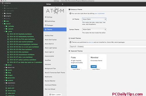 Edit Atom settings, from the app's Preference