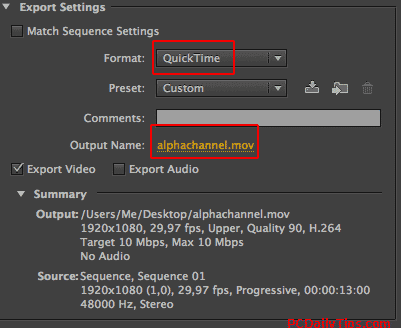 Premiere Pro export settings for transparent video