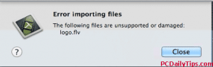The following files are unsupported or damaged Camtasia