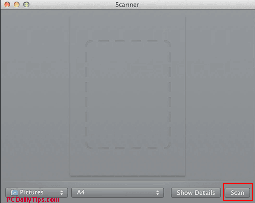 "Click on ""Scan"" to scan on mac from epson"