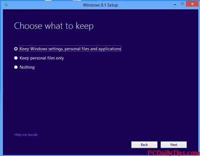 Choose what to keep before updating Windows 8 to 8.1