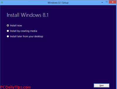 Install Windows 8.1 options