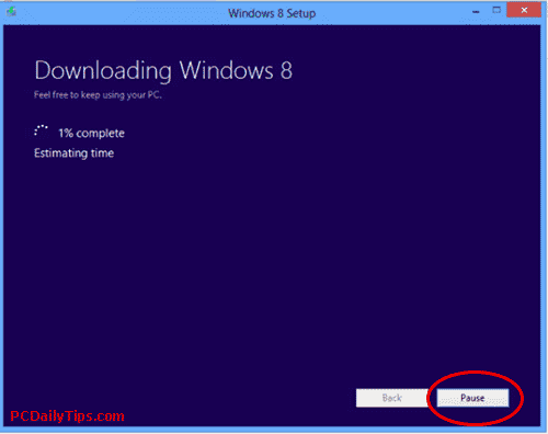 Pause the download Win 8