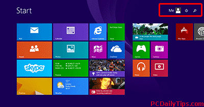 Windows 8.1 new look - Search and Log out/On icon
