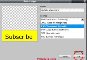 Saving image as PNG file in Pixlr