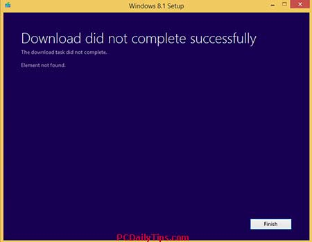 Download did not complete successfully - Close it