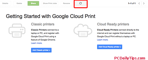 Classic printer or Cloud ready printer option page, ignore and hit refresh.
