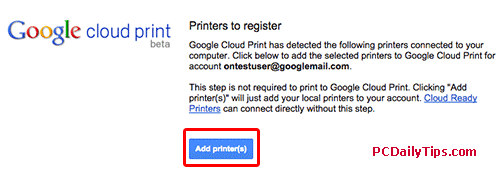 Addding printers in Google cloud print page