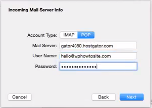 "Incoming Mail Server Info uses ""POP"""