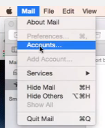 "Mail then click ""Accounts"" to add another email account."
