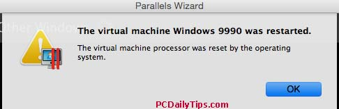 the virtual machine wasreset by the operating system