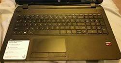 The HP 15-f111DX keyboard and trackpad are average.