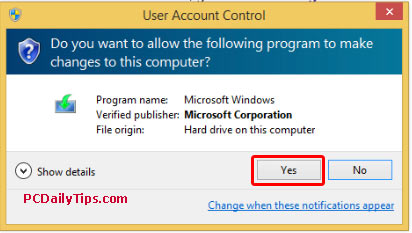 "Click ""Yes"" in User Account Control"