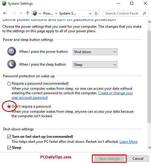 Don't require a password check box option