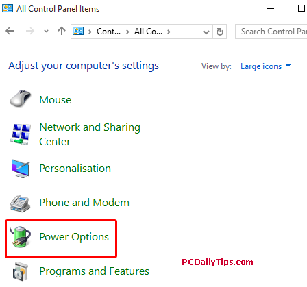 Power Options on Windows 10 icon