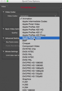 Video codex Set to Apple Prores 4444