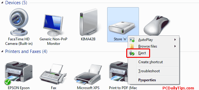 Remove safely hardware from the Device and Printers
