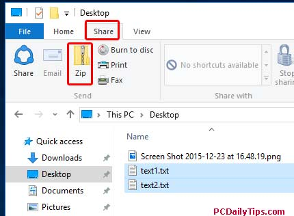 ZIP File inside File Explorer by clicking Share, and ZIP