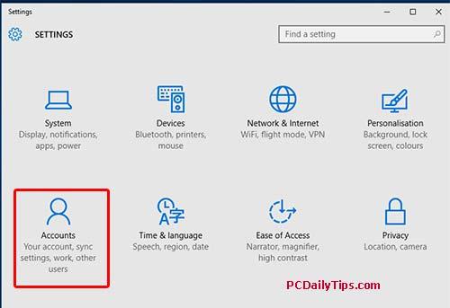 """Accounts"" in Settings Windows 10"