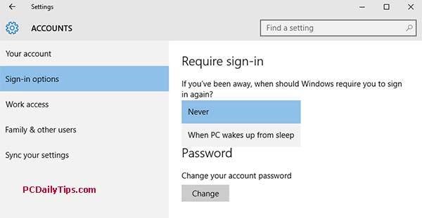 Sign-in Options to enable or disable log-in requirements after your PC asleep