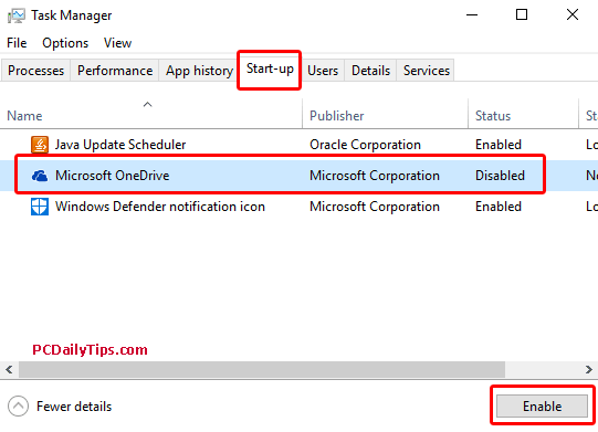 Disable or enable Start-up programs on Task Manager