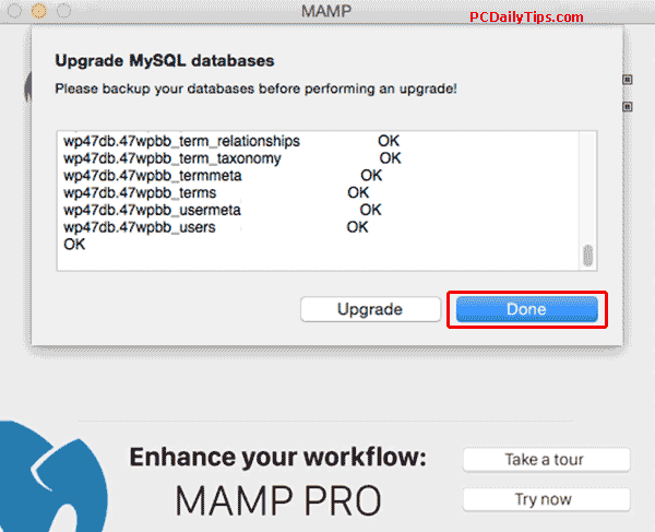 Upgrading Databases in MAMP 4.1