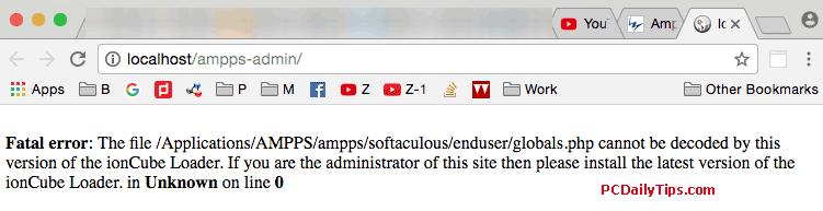 Ampps ionCube Loader Fatal error: The file /Applications/AMPPS/