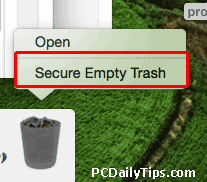 Secure Empty Trash option