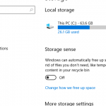 Storage Sense Windows 10